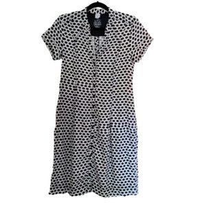 OLSEN  polka dot shirt button down linen dress